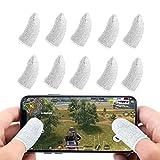 Newseego PUBG Mobile Game Finger Sleeve [Paquete de 10], Pantalla táctil Dedo Manga Transpirable Anti-Sudor Disparos sensibles y Teclas de apuntar para PUBG/Cuchillos Fuera para Android y iOS(Blanco)