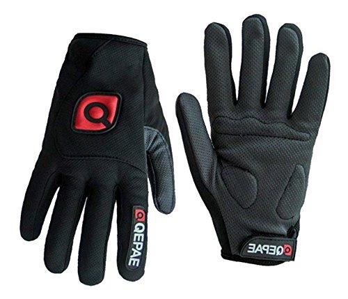 QEPAE ® Guantes de gel antideslizantes para hombre y mujer, con dedos completos, transpirables, color negro
