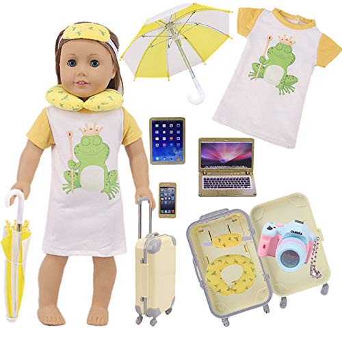 "ZWSISU 18""Doll Suitcase Luggage Travel Play Set for American 18' Girl Dolls Including Luggage Clothes Pillow Camera Computer Cell Phone Ipad,ect"