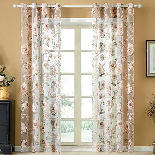 cortinas salon con flores