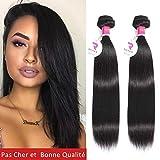 Tissage Bresilien En Lot 2 Bundles Lisse 50g/paquet(100g total) Meches Bresiliennes 24 Pouces Cheveux Naturel Human Hair Vierges Straight Extensions Hair 8A