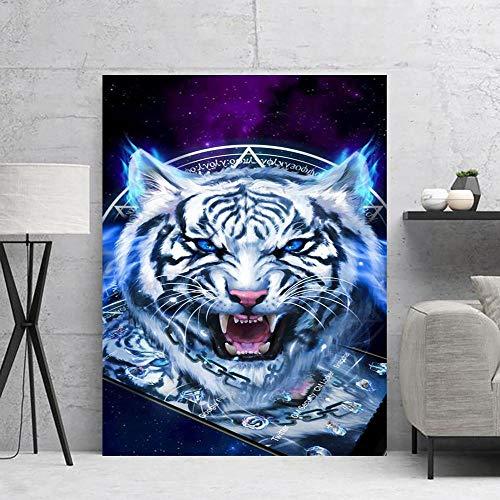 BZCBX Cuadros sobre el Lienzo Lienzo Estampados Imprimir Tigre Animal Azul Lienzo Pared Art para Dormitori Decoración Regalo, la Lona Imprime estirado y Enmarcado Listo para Colgar 60x80cm