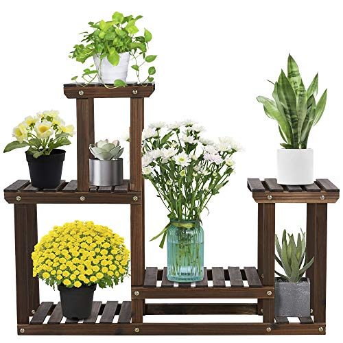 Yaheetech Blumenregal aus Holz, Pflanzenregal Balkon, Pflanzentreppe mehrstöckig, Blumentreppe 4 Ebenen, Holzregal 95 x 25 x 73 cm