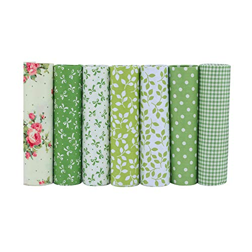 ShuanShuo Coffer Series Cotton Fabric Quilting Patchwork Fabric Fat Quarter Bundles Fabric for Sewing DIY Crafts Handmade Bags 15X19 7pcs/lot (Green)