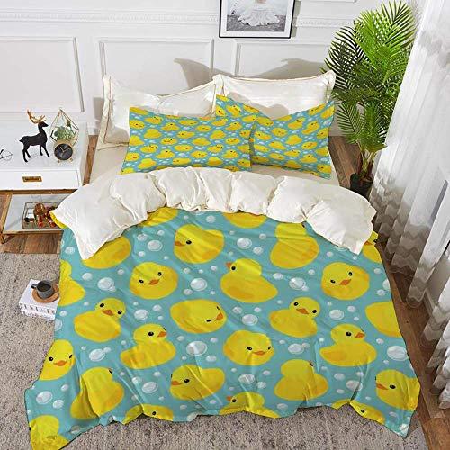 788 Nursery,Cute Happy Rubber Duck and Bubbles Cartoon Pattern Childhood Kids Theme Art,Aqu,Hypoallergenic Microfibre Duvet Cover Set 260 x 220cm with 2 Pillowcase 50 X 80cm
