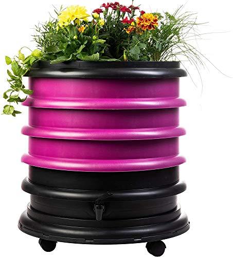 WormBox : Wurmkomposter Wurmfarm mit 3 Schalen Himbeere + Pflanzgefäß - 56 Liter