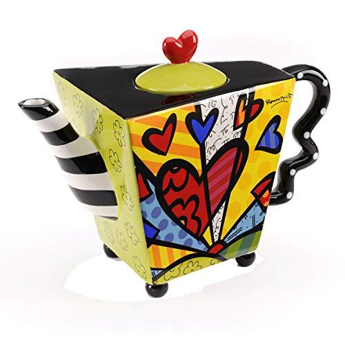 ROMERO BRITTO Teekanne Herzdesign - A New Day - Pop Art Kunst aus Miami