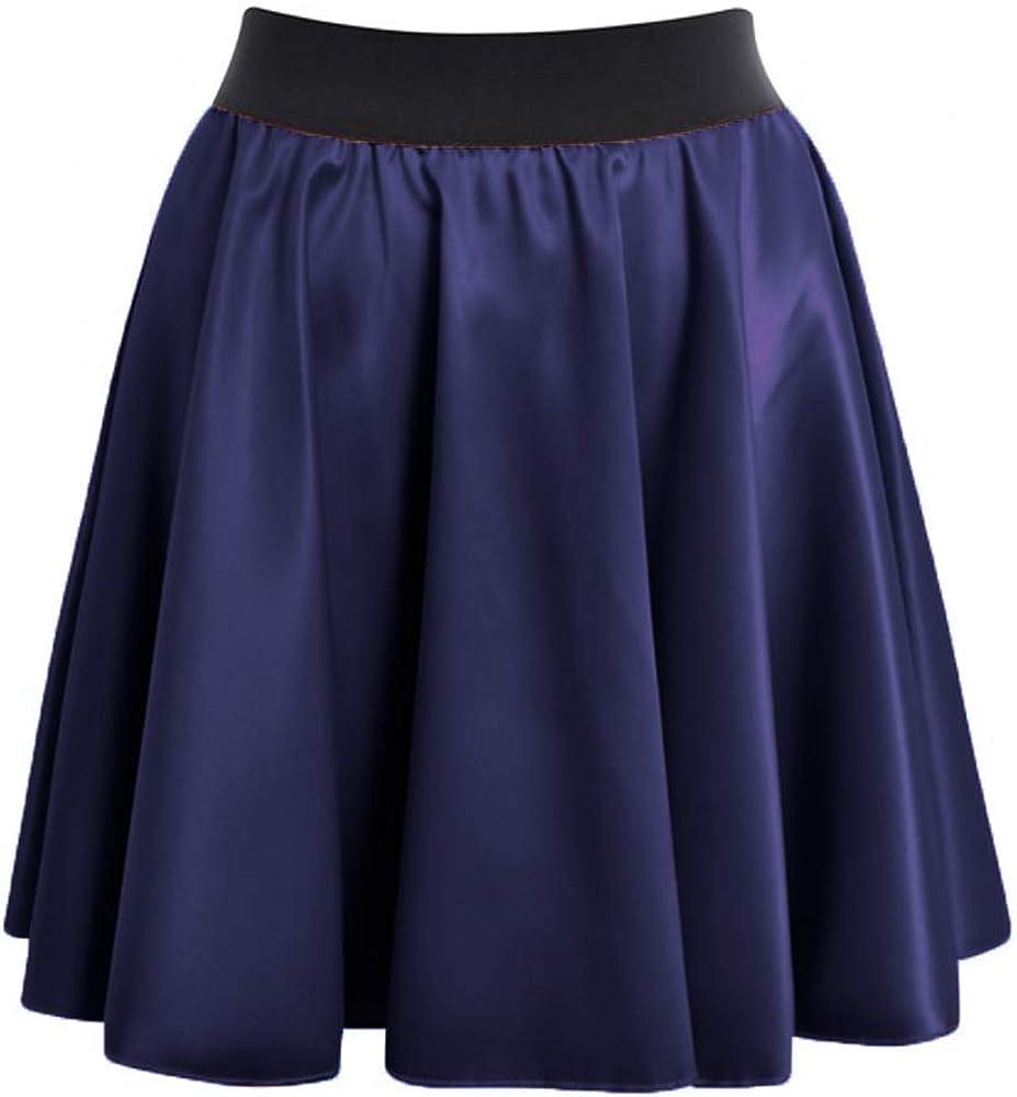 Meek Mercery Satin Short/Mini Swing Skirt High Waist Skirt Ratro Skater Skirt One Size S14