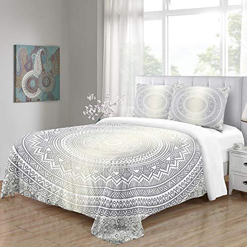 HKDGHTHJ fundas nordicas cama Flor de plata del arte 135 x 200 CM Juego de ropa de cama de estilo simple a la moda de 4 piezas, juego de sábanas de edredón, ropa de cama, textiles para el hogar, tama