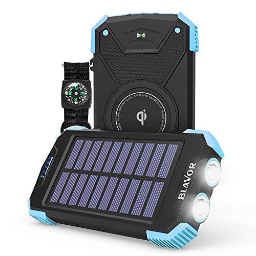 Solar Power Bank, Qi Portable Charger 10,000mAh External Battery Pack Type C Input Port Dual Flashlight, Compass, Solar…