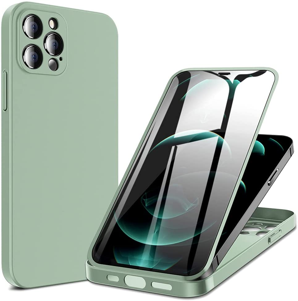X-level Compatible with iPhone 12 Pro Case,(360 Full Body Protective) Case with Built-in 9H Tempered Glass Screen Protector Ultra Thin Slim Fit Phone Cover for iPhone 12 Pro 6.1 Inch (Matte Green)