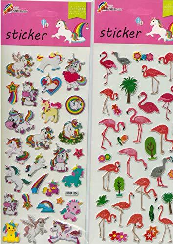 4er Set Sticker-Karte Flamingo & Einhorn, Aufkleber, Kartengröße je 30x11 cm, verschiedene Varianten