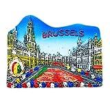 Hqiyaols Souvenir Bruselas Grand Place Flor Alfombra Festival Bélgica 3D Refrigerador Imán de Nevera Viaje Ciudad Recuerdo Colección Decoración Pizarra Blanca Etiqueta