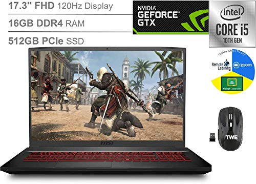 MSI 10SC GF75 Thin 17.3' FHD 120Hz Gaming Laptop, Intel Core i5-10300H, GeForce GTX 1650, 16GB DDR4, 512GB SSD, Backlight Anti-Ghosting Keyboard, Webcam, Windows 10, TWE Wireless Mouse