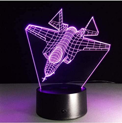 Lámpara de ilusión 3D Cool aviones de combate aéreo aviones de combate 7 colores Interruptor táctil USB Iluminación del sueño Decoración Niños Dormitorio Niños Luz Juguetes de cabe-16 colors remote