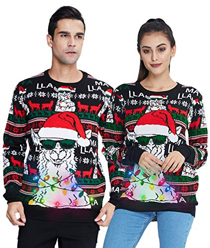 Women's Men's Christmas Sweater Cute Animal Alpaca Pattern Light Up Ugly Xmas Sweatshirt Loose Winter Knitted Tops Jumper for Outdoor Sport Party Camping Large
