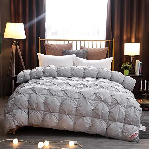 CHOU DAN bettdecke Kissen,Gedrehte Daunendecke aus Baumwolle, weiße Gänsedaunen, Bettdecke aus Frühling und Herbst, einzelne verdickte warme Decke-180x220cm 3000g_grau