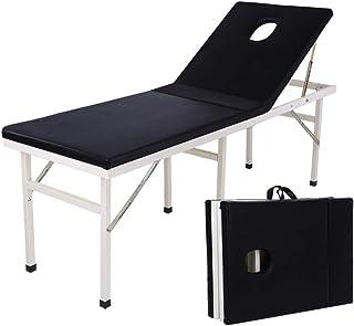 سرير تدليك تجميل، سرير طاولة التدليك بقسمين، قابل للطي، ألومنيوم محمول قابل للطي، جهاز تجميل احترافي للوجه، عرض 60 سم (الل...