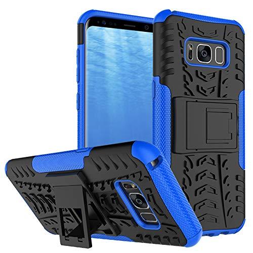 Yiakeng Funda Samsung Galaxy S8 Carcasa, Silicona a Prueba de Choques Protector con Kickstand para Samsung Galaxy S8 (Azul)