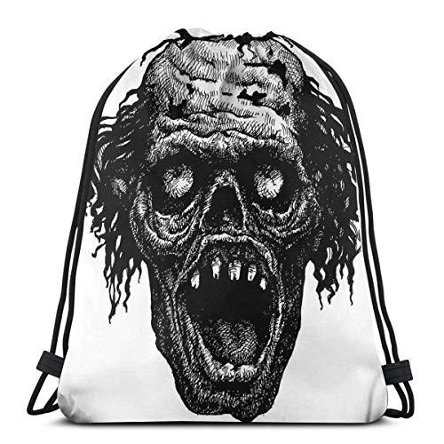 Mochilas con cordón Bolsas, Zombie Head Evil Dead Man Portrait Fiction Creature Scary Monster Graphic