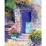 Pintura de puerta de flores por números para adultos, niños, pintura al óleo pintada a mano, paisaje, lienzo, dibujo, regalo DIY, pared del hogar A8 50x65cm