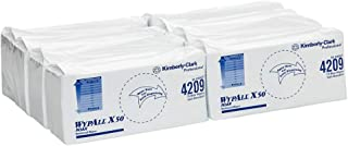 WypAll X50 Single Sheet Wipers,  Blue,  75 Wipers/Pack,  Case of 8 Packs