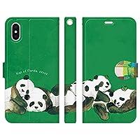 ブレインズ ベルトなし iPhone 11 手帳型 ケース カバー パンダ グリーン NoA グッズ 動物 クマ アニマル柄 ペアルック ペア