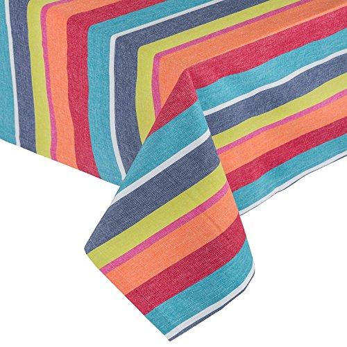 HOMESCAPES Nappe de Table rectangulaire en Coton à Rayures Multicolore, 137 x 178 cm