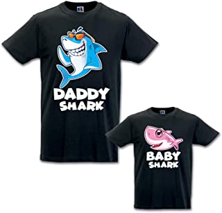 Coppia di T-Shirt Padre Figlio Daddy Shark And Baby Shark