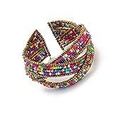 LUFA Pour les femmes et les dames Bijoux Perles Bohême Bracelets Weave Ouvrir Bangles Femmes Mode coloré&4*6.5cm