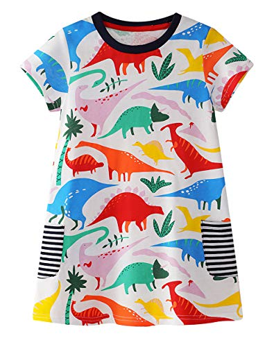 Ncycullo Toddler Girls Cotton Long Sleeve Dress Kids Cartoon Dresses Baby Cute Animal Dresses Dinosaur 116 2T