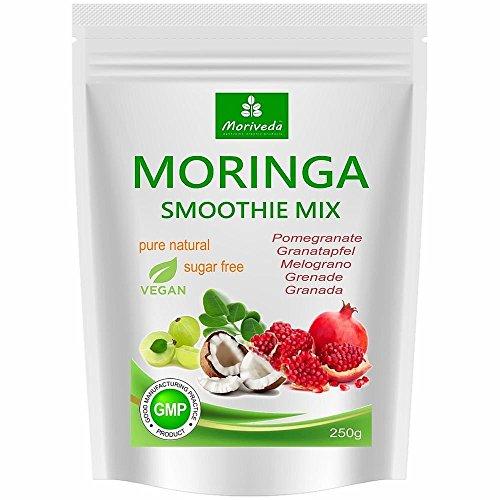 MoriVeda® - Moringa Smoothie Pulver, Energiebooster, Vitaminshake, Proteinshake, Mahlzeitenersatz - versch. Geschmacksrichtungen, 100% natürlich, vegan, ohne Zuckerzusatz* (250 g Granatapfel)