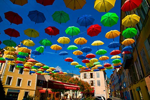 N1 Jazzy Jigsaws Umbrellas In France 1000 piece Jigsaw Puzzle For Adults Colourful Brollies In A French Village Jigsaw Idea