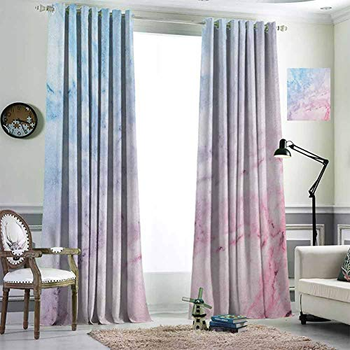 Jktown Marble Curtains for Kids Bedroom Triple Weave Moderate Blackout Drape Grommet 72x84 inch Pastel Toned Cloudy Hazy Crack Lines Stained Antique Shabby Chic Design Pale Blue Baby Pink