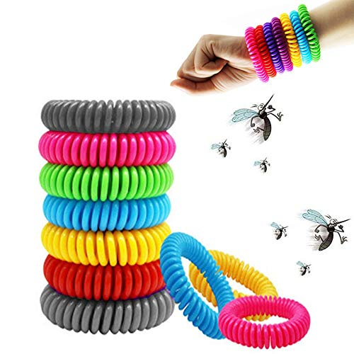12 Pack Mosquito Repellent Bracelets, Reusable Natural Plant-Based Oil and Waterproof Wrist Bands for Adults, Kids, Pets, DEET Free, Travel Protection Outdoor