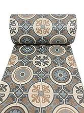 De'Carpet Vinilo PVC A Medida Alfombra FÁCIL Limpieza Antideslizante BALDOSA HIDRÁULICA Azul (50 CM Ancho) (3 Metros)
