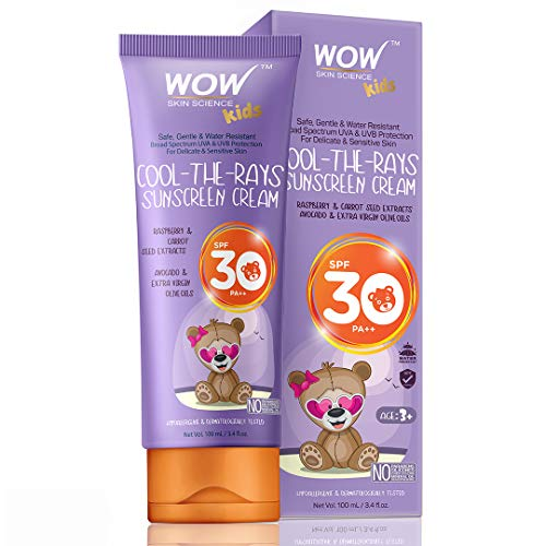 WOW Kids Cool-The-Rays Sunscreen Cream Spf 30 Pa++ - No Parabens, Silicones, Oxide Color, Mineral Oil and Benzophenone, 100 ml
