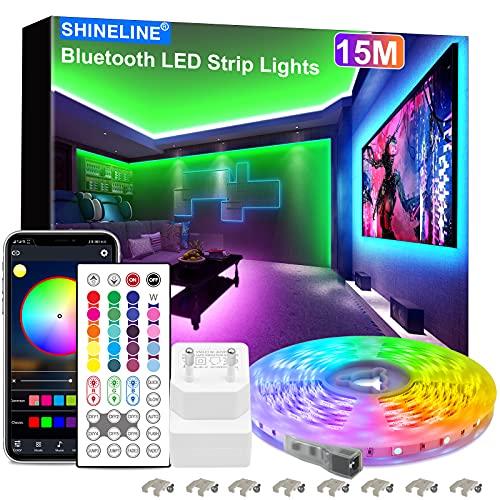 15M LED Strip, SHINELINE 1 Rolle Bluetooth App und Fernbedienung RGB LED Streifen, Musik Sync Farbwechsel LED Lichtband für Schlafzimmer,...