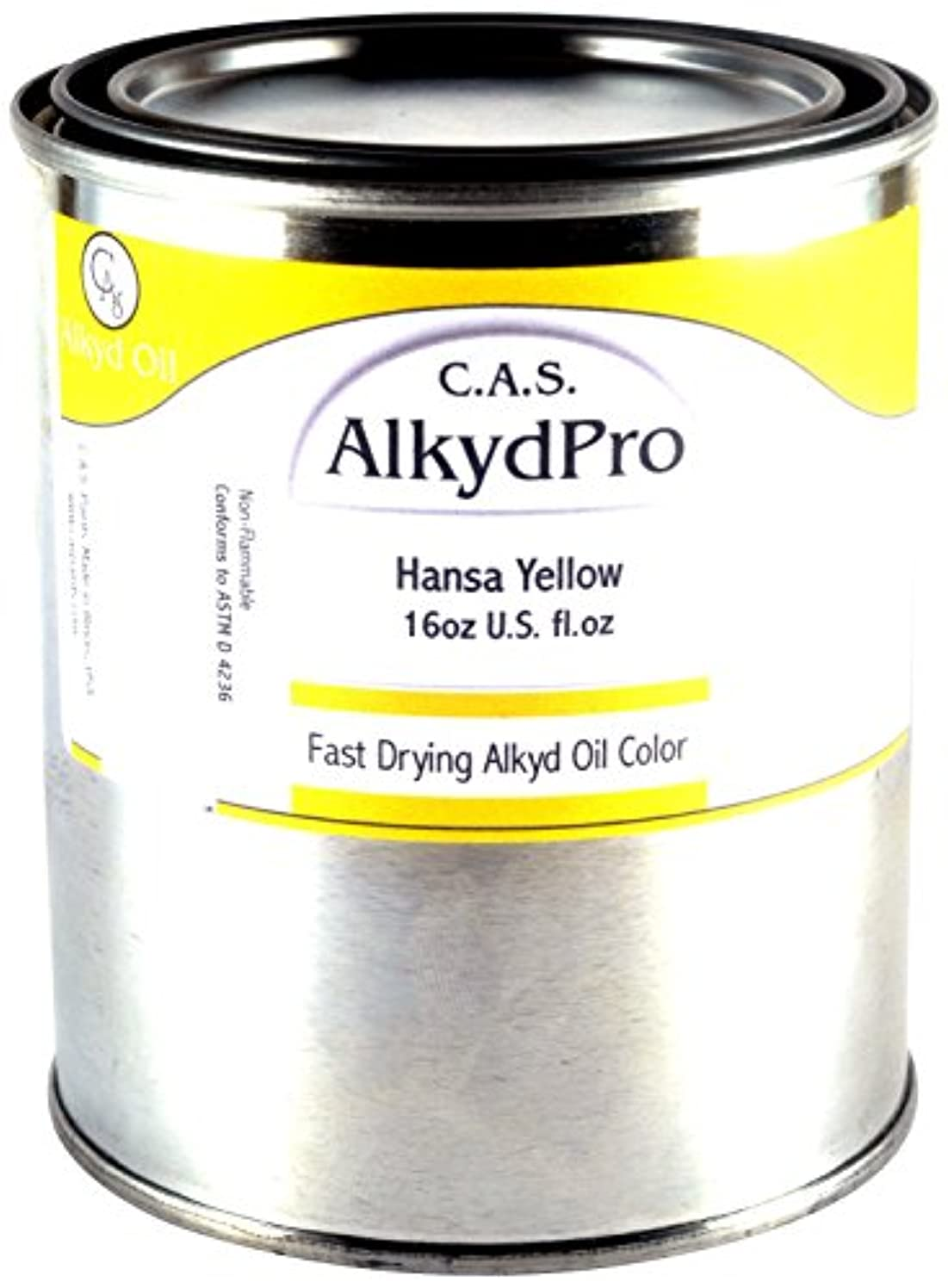 C.A.S. Paints AlkydPro Fast-Drying Oil Color Paint Can, 16-Ounce, Hansa Yellow