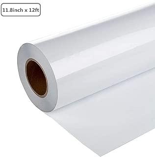 DEDC 1 Rollo Vinilo de Transferencia de Calor de PVC para DIY Bricolaje Diseño Imprimir Patrones de Camisetas Sombreros Mochilas Ropa 11.8 pulgadas x 12 pies (Blanco)
