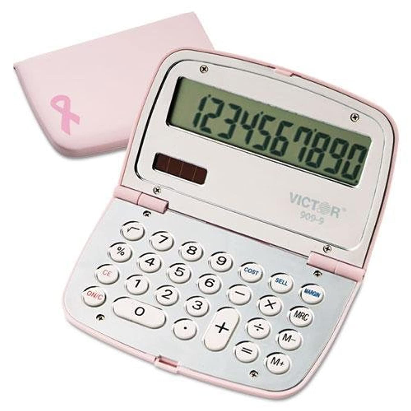 肝ピンク些細なVictor 9099?909?–?9?Limited Editionピンクコンパクト電卓、10桁LCD