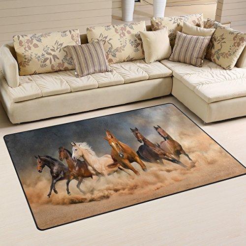 WOZO Horse Herd Desert Sand Storm Area Rug Rugs Non-Slip Floor Mat Doormats Living Dining Room Bedroom Dorm 60 x 39 inches inches Home Decor