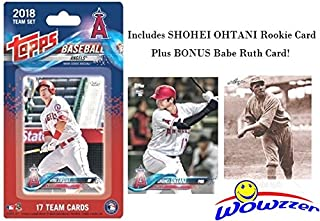 Los Angeles Angels 2018 Topps Baseball EXCLUSIVE Special Limited Edition 17 Card Complete Team Set with SHOHEI OHTANI FIRST ROOKIE, Mike Trout, Albert Pujols & More Plus BONUS BABE RUTH Card! WOWZZER
