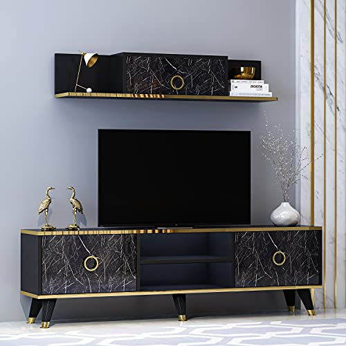SOPHIA Set Soggiorno - Parete Attrezzata - Mobile TV Porta con 2 Armadietti per Salotto con mensola da muro in Moderno Design (Nero)