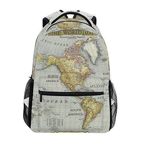 Nander Backpack Travel World Map Painting School Bookbags Shoulder Laptop Daypack College Bag for Womens Mens Boys Girls