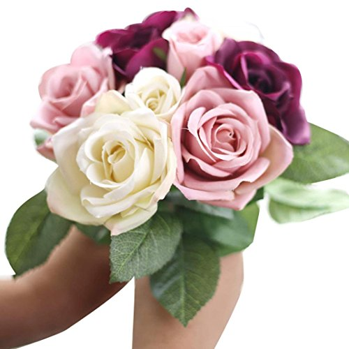 Xinantime Flores Artificiales,Xinan 1x 9 Cabezas Flor de Seda Falso Hoja Rosa Planta (Beige)