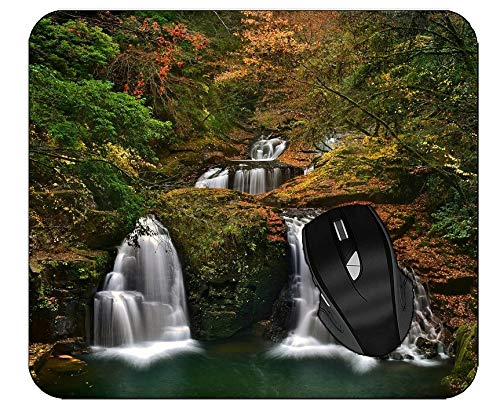 Gaming Mouse Pad Tree Forest Waterfall Autumn Landscape Mousepad with Smooth Cloth Surface