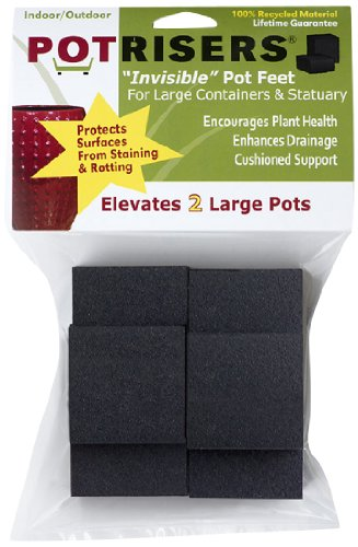 Potrisers (Size Large -6 Pack) - Invisible Pot Feet to Elevate up to 2 Flower Plant Planters or Statues | Perfect for Patios, Decks, Gardens, and Greenhouses - Made in the USA