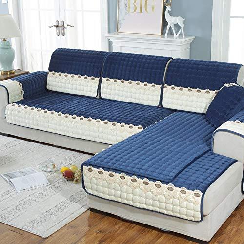 Suuki Protector de sofá seccional a Juego de Colores, Funda de sofá de Terciopelo súper Suave, Fundas de sofá de Felpa de Tienda de Invierno, Funda de sofá Modular-Armada_El 110 * 210cm
