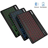 NPET BK01 Universal Slim Portable Wireless Bluetooth 3.0 Keyboard, 7-Colors Backlit Keyboard with Built-in Rechargeable...